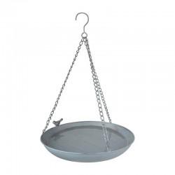 Bain oiseaux a susp metal gris